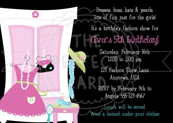 Fashion show invitation wording fashion show birthday party invitation wording 570 x 407 stopboris Image collections
