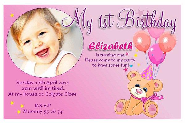 First Birthday Girl Invitations Wordings
