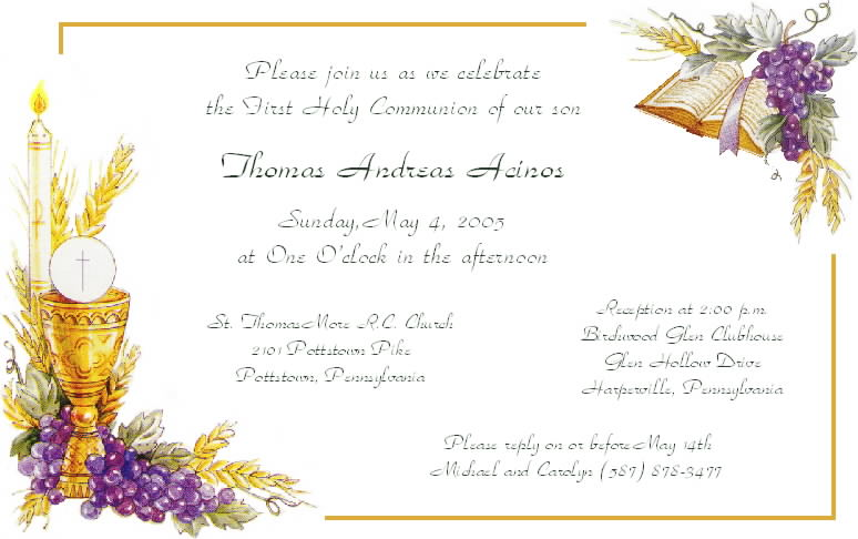 First Holy Communion Invitations Free Templates