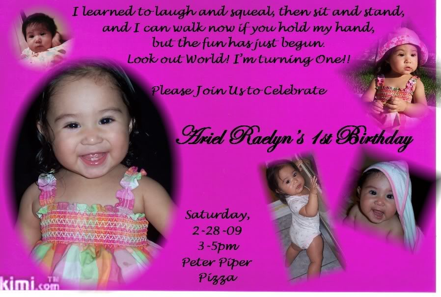 First Year Birthday Invitation For Girls