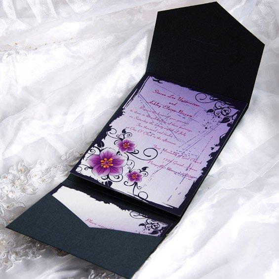 Floral Pocket Wedding Invitations