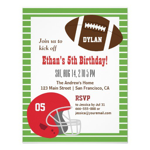 Football Party Invitations For Boys