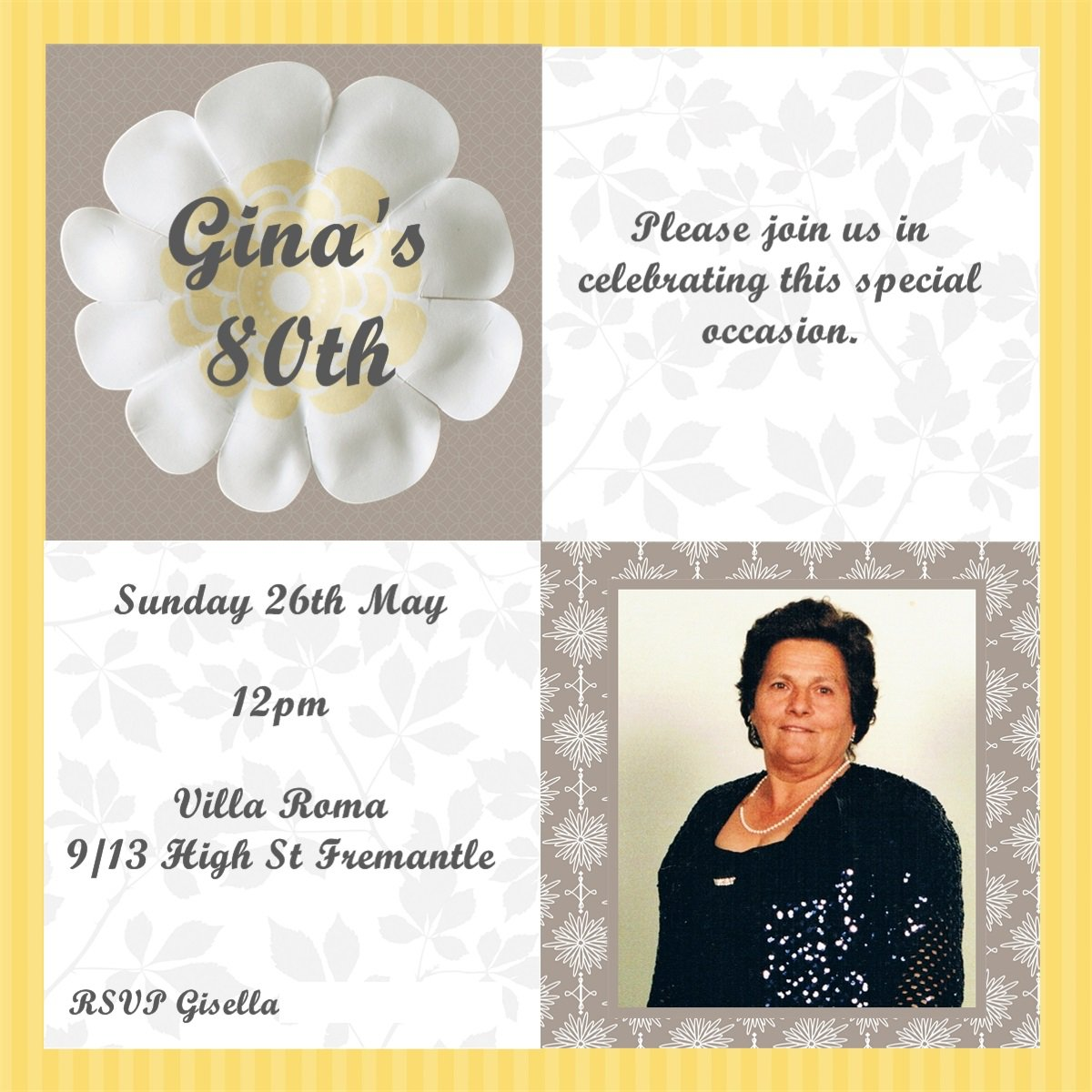 For Her 80th Birthday Invitations