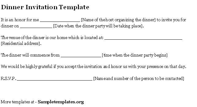 Formal Business Dinner Invitation Templates