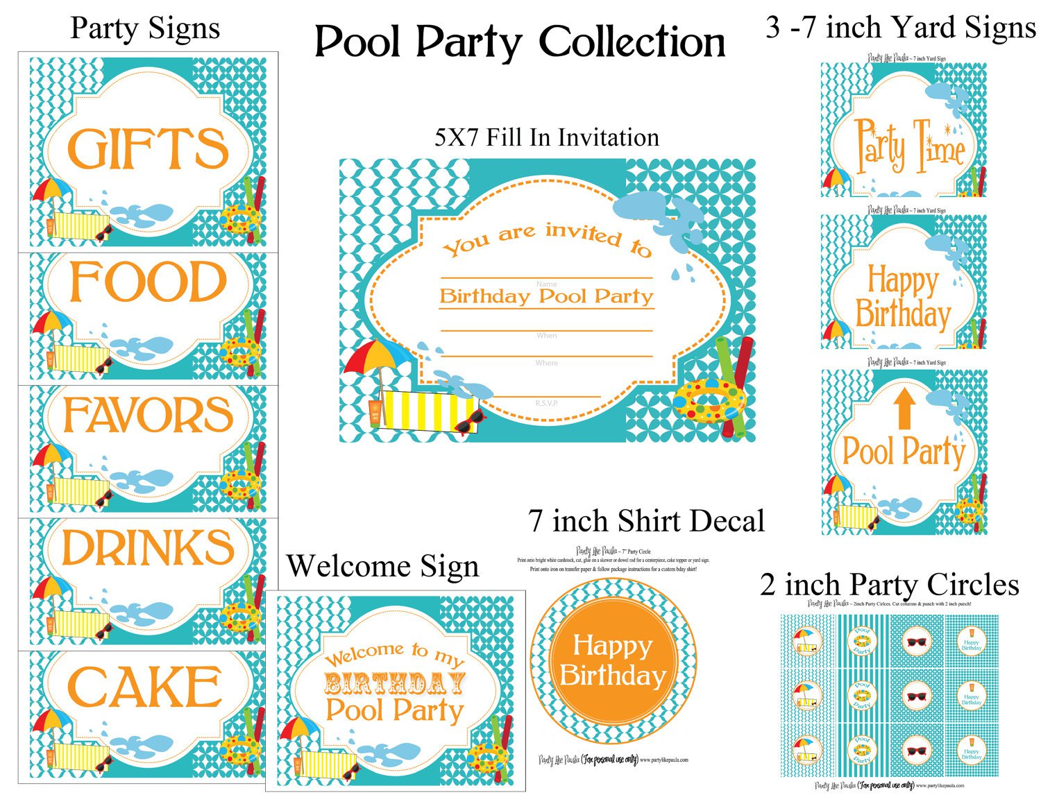 Free Blank Pool Party Invitations