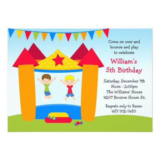 bounce house birthday party invitation. Black Bedroom Furniture Sets. Home Design Ideas
