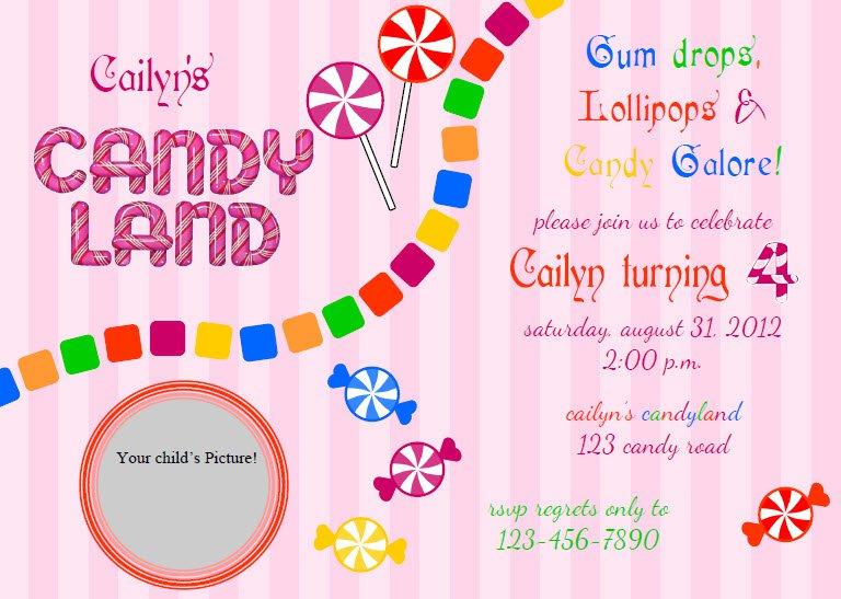 Free Candy Birthday Invitation Templates