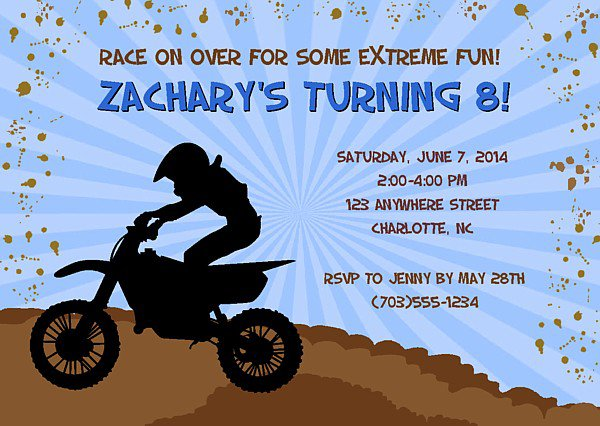 Free Dirt Bike Birthday Party Invitations