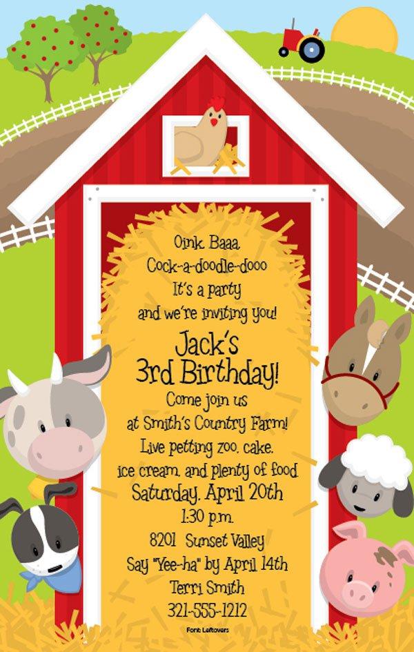 Free Farm Animal Birthday Party Invitations