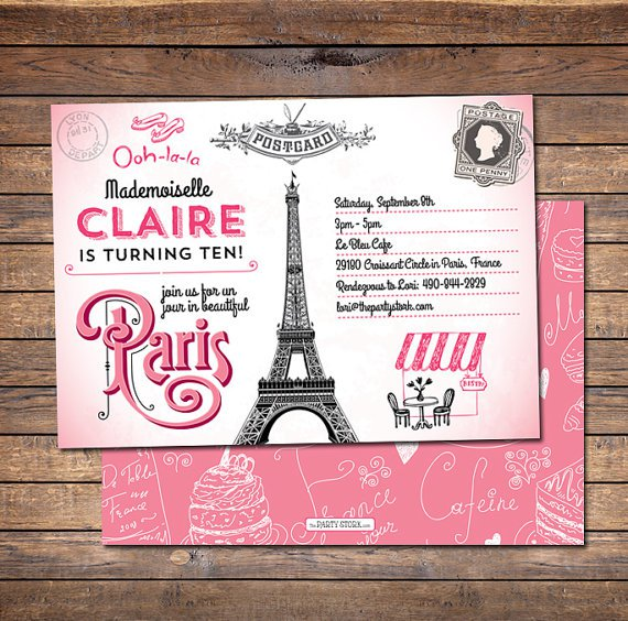 Free Paris Birthday Invitation Templates