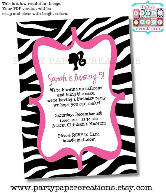 Free Pink Zebra Printable Invitations