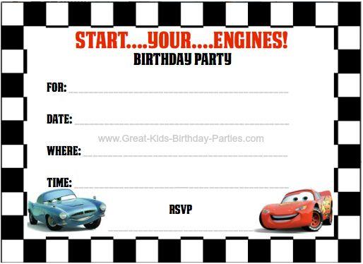 Free Pixar Cars Invitation Templates