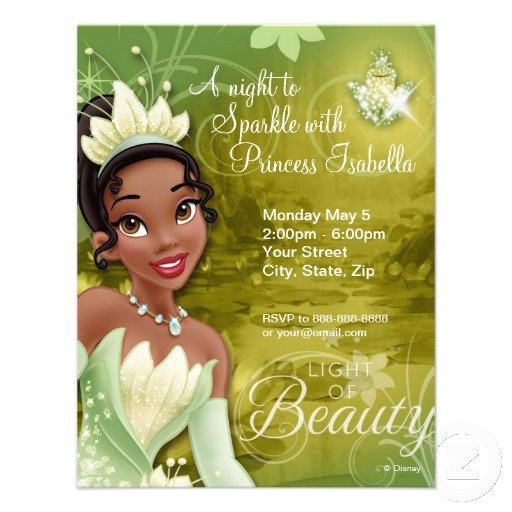 Free Princess Tiana Invitation Template