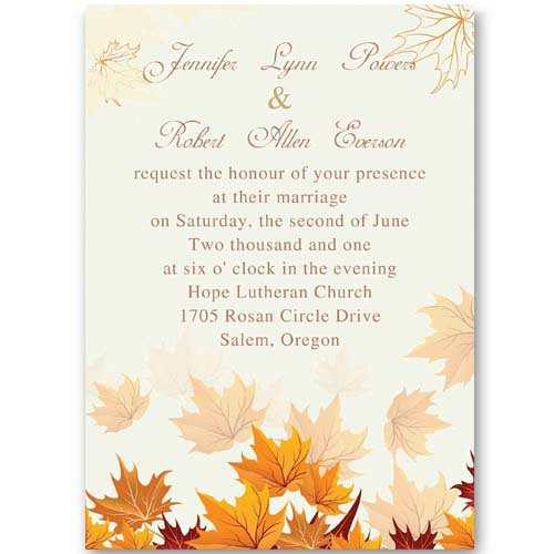 Free Fall Wedding Invitation Templates wblqualcom