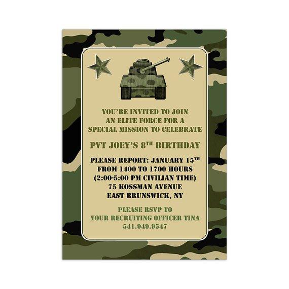 Free Printable Birthday Invitations Camo