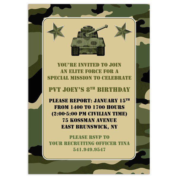 Free Printable Birthday Invitations Camouflage