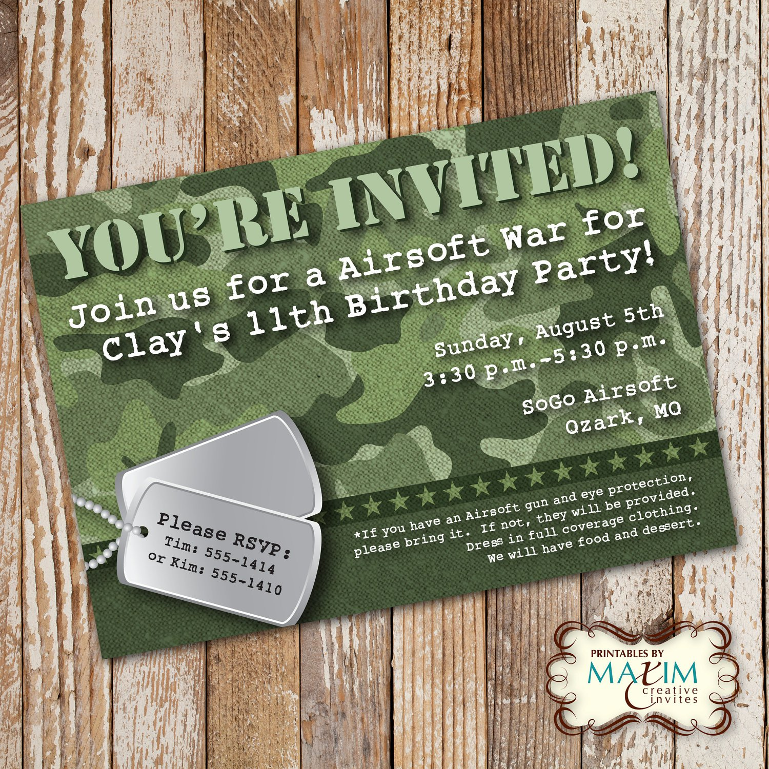 Free Printable Camo Invitations For Birthday