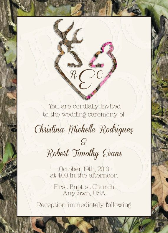 Camo Wedding Invitation Printable Free