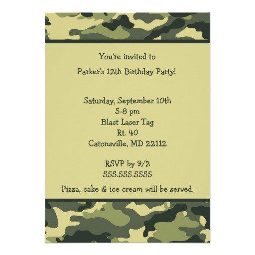 Free Printable Camouflage Invitations