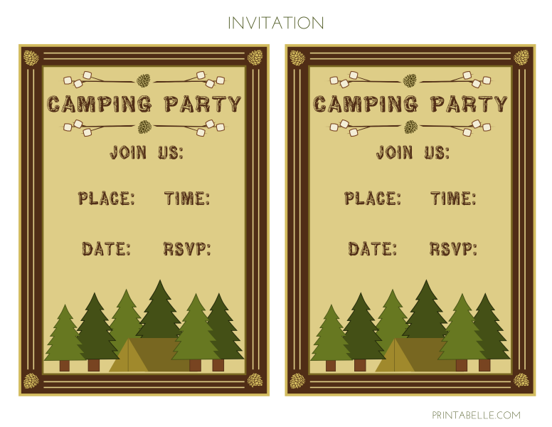 Free Printable Camping Birthday Party Invitations