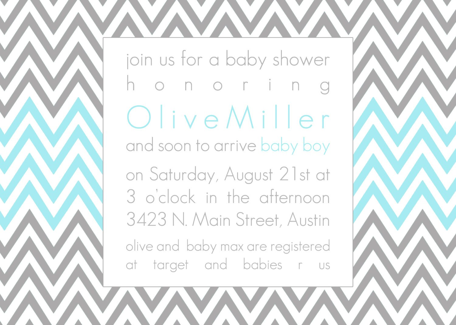 Chevron Baby Shower Invitation Printable