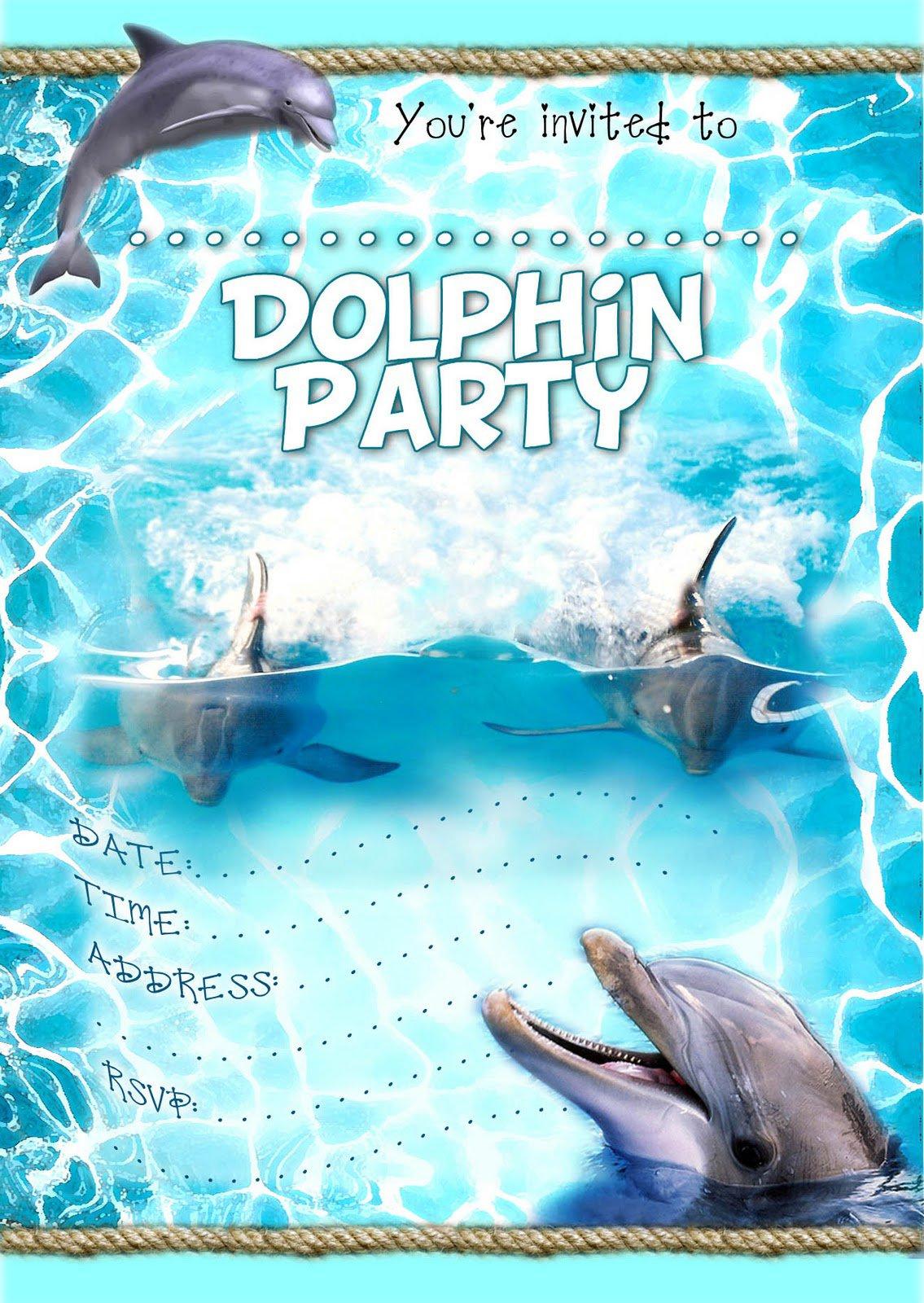 Free Printable Dolphin Birthday Invitations