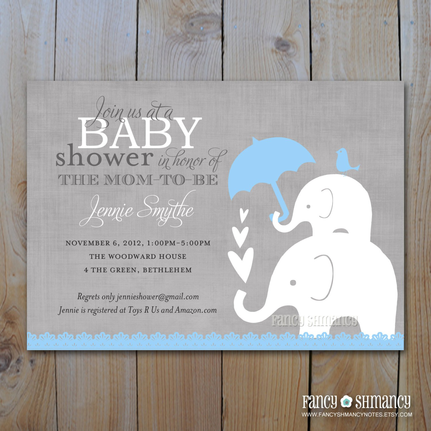 printable elephant baby shower invitations