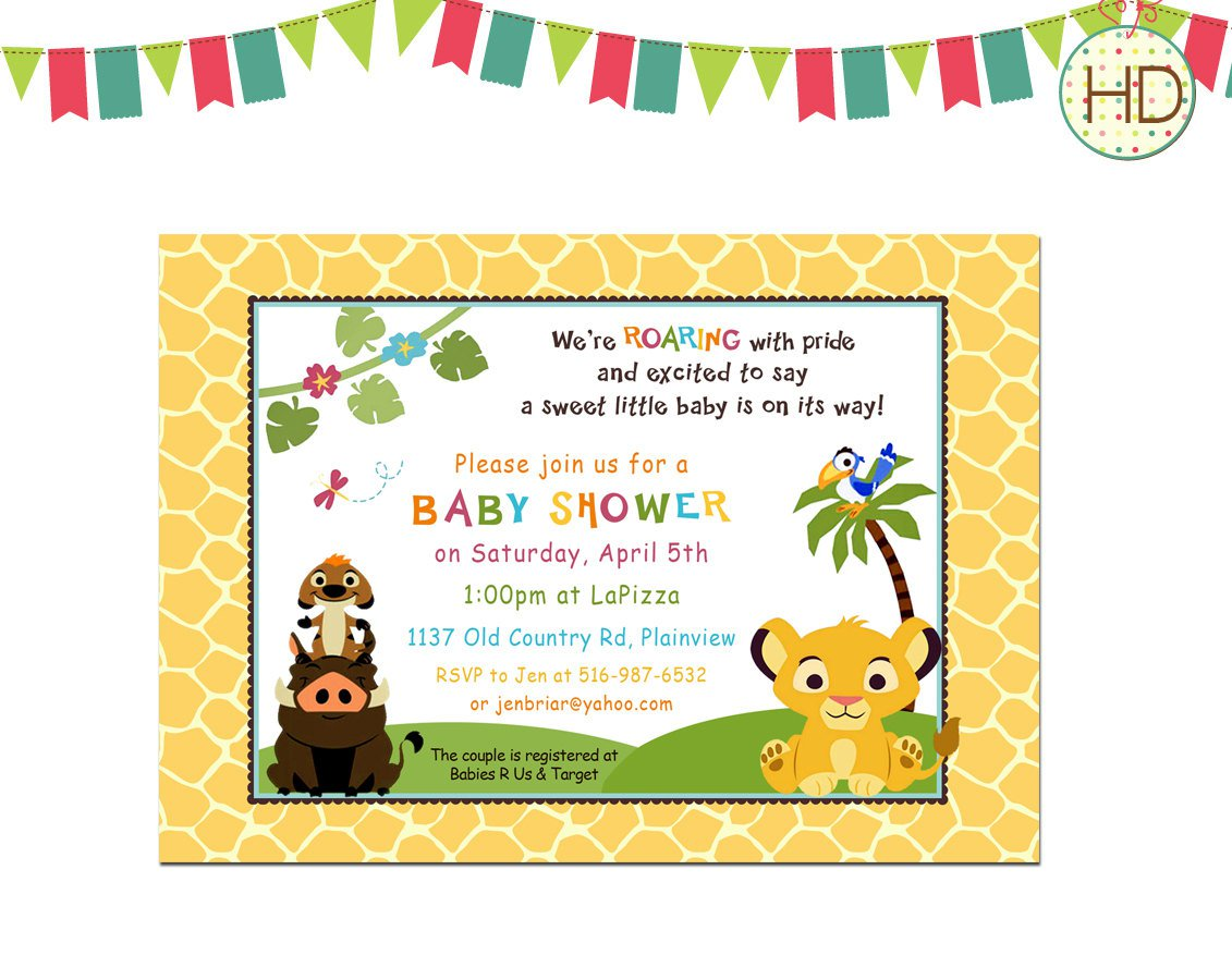 Free Printable King Of The Jungle Baby Shower Invitations