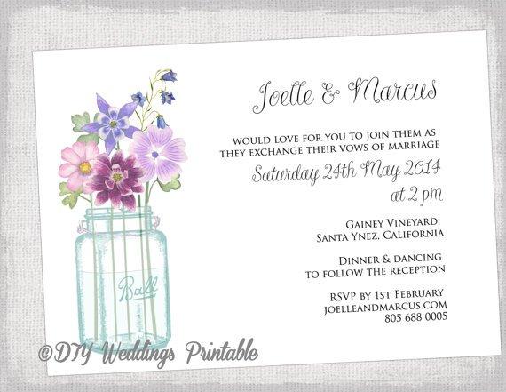 Free Printable Mason Jar Wedding Invitation Templates