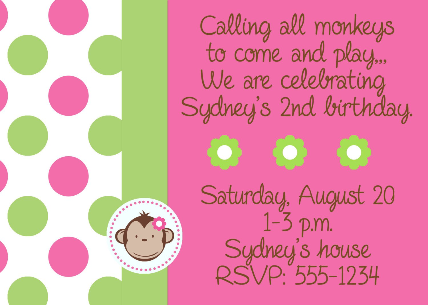 Free Printable Monkey Girl Baby Shower Invitations