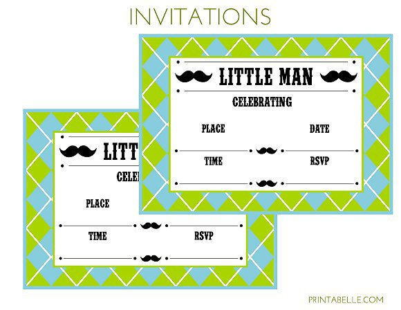Free Printable Mustache Baby Shower Invitations Templates