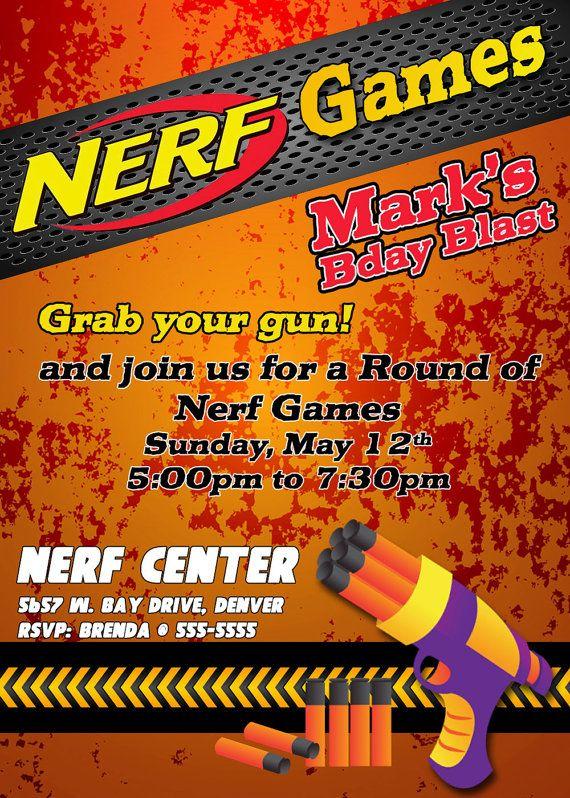 Free Printable Nerf War Invitations
