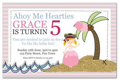 Free Printable Princess Pirate Party Invitations