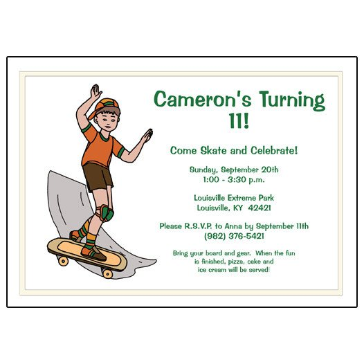 Free Printable Skateboard Birthday Party Invitations