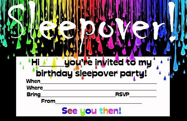 Free Printable Sleepover Birthday Invitations