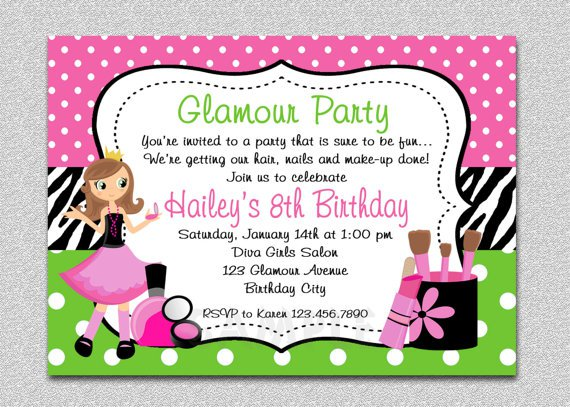 Free Printable Spa Day Birthday Invitations