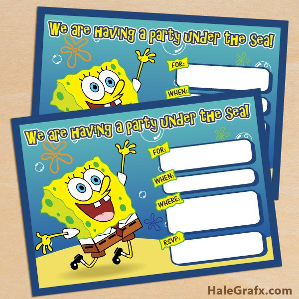 Free Printable Spongebob Squarepants Invitations