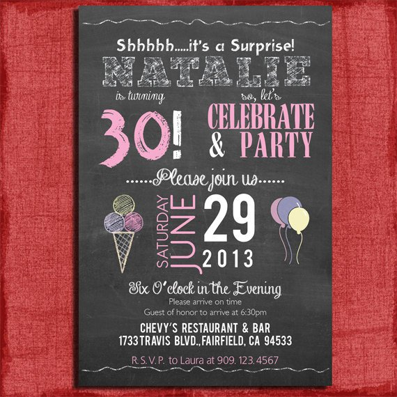 Free Printable Surprise 30th Birthday Invitations