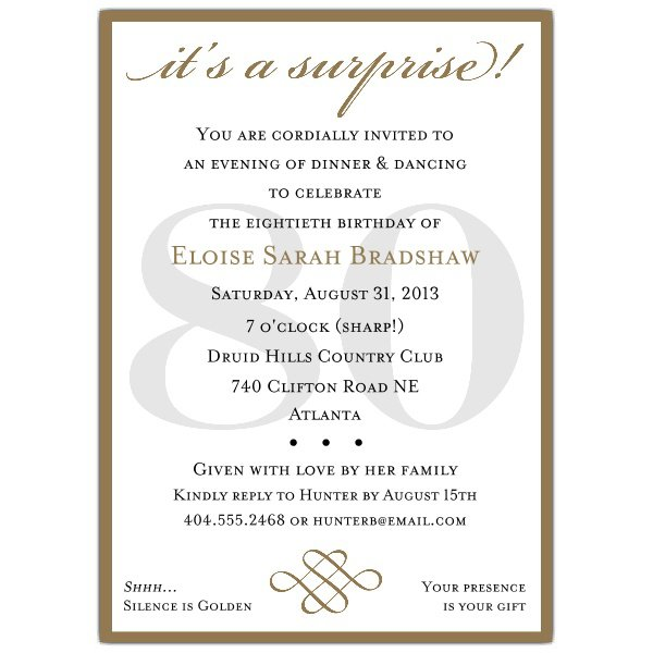 Free Printable Surprise 80th Birthday Party Invitations
