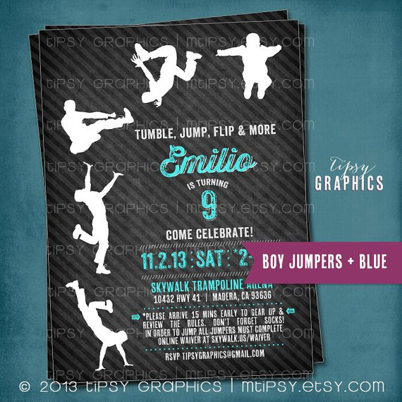 Free Printable Trampoline Birthday Party Invitations