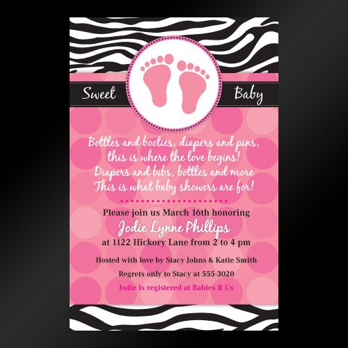 Free Printable Zebra Print Invitations Baby Shower