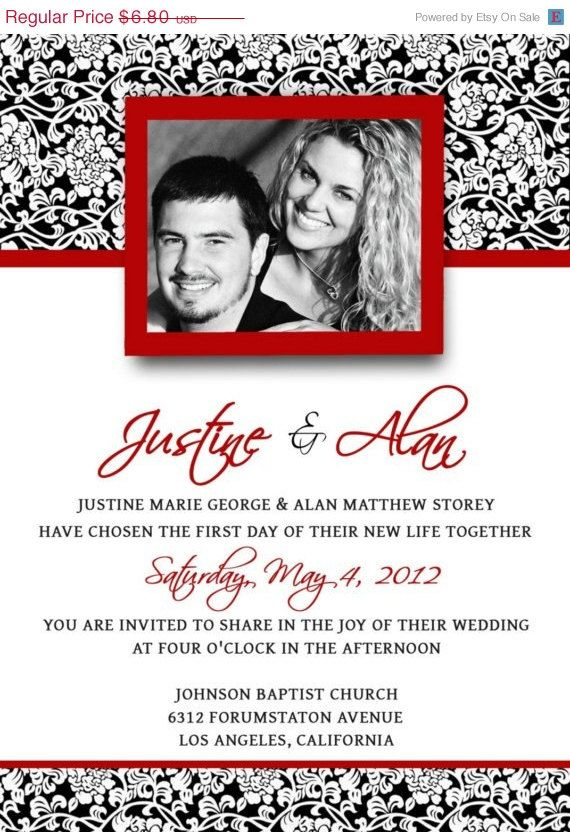 Free Red And Black Wedding Invitation Templates