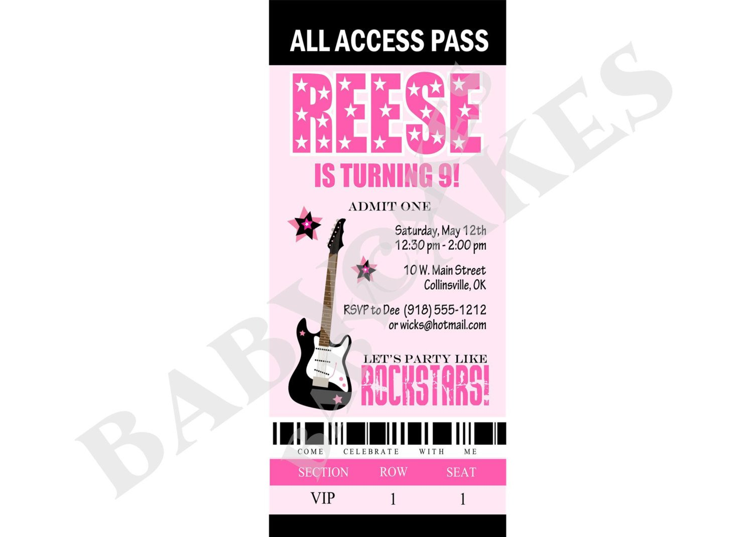 Free Rock Star Birthday Invitations