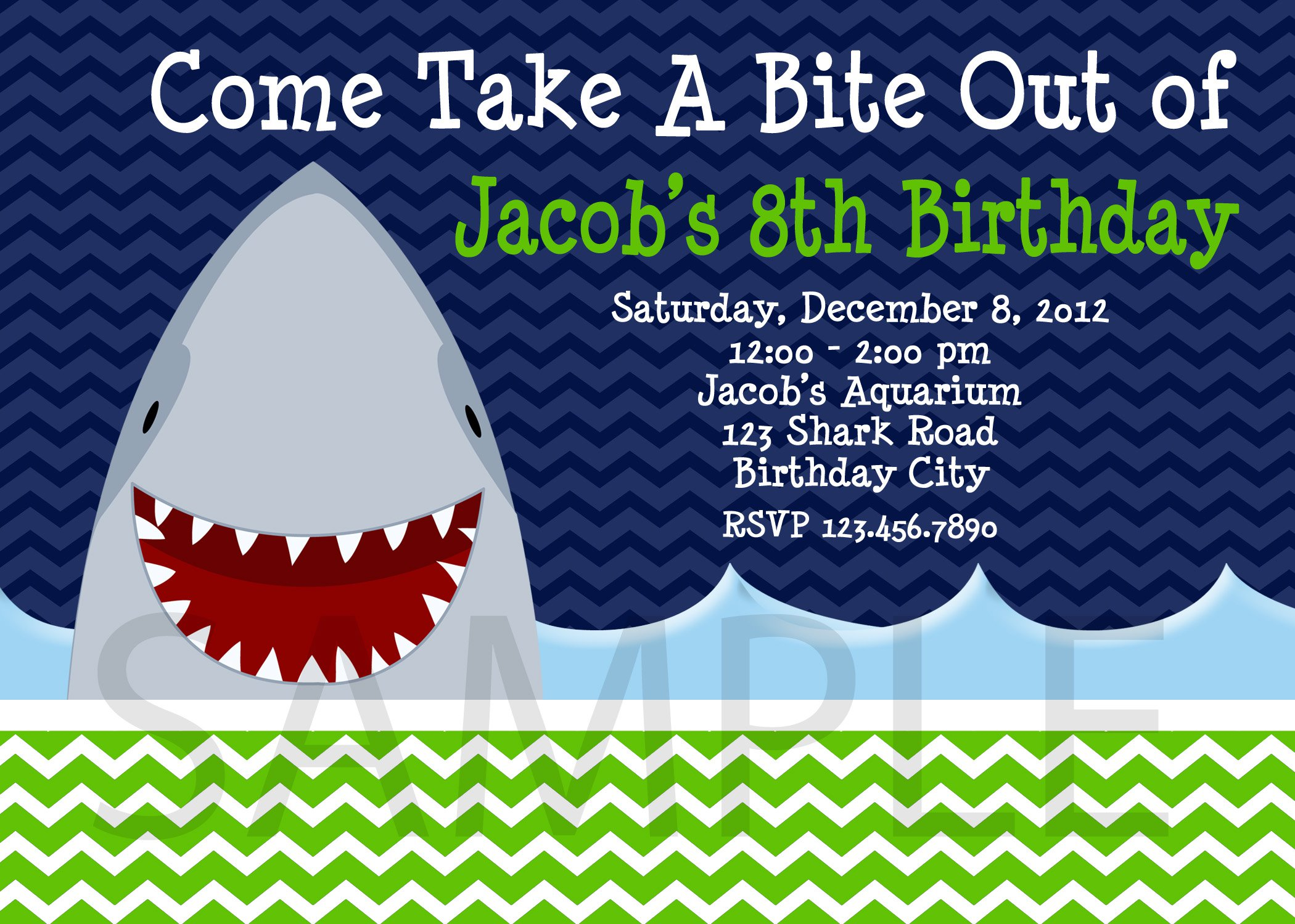 Free Shark Birthday Invitation Template