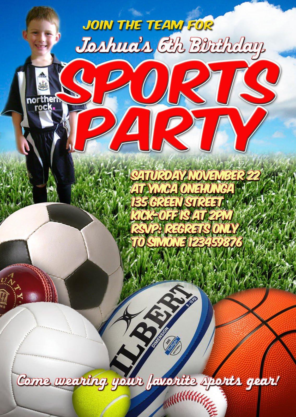 Sports Birthday Party Invitation Templates