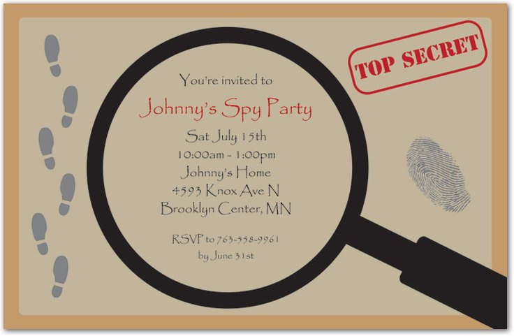 Spy Party Invitation Templates – Spy Party Invitation