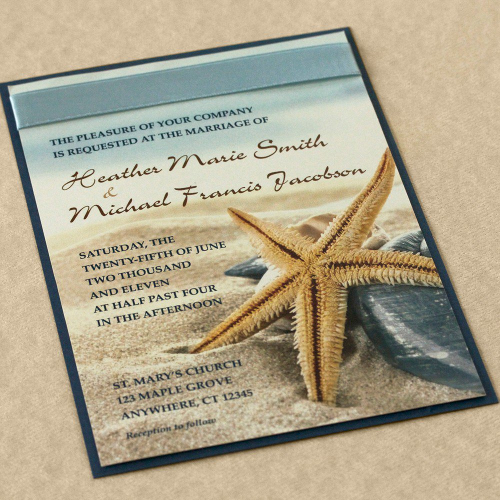 Free Starfish Wedding Invitation Templates