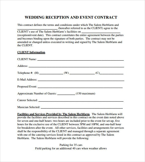 Sample Event Planning Contract