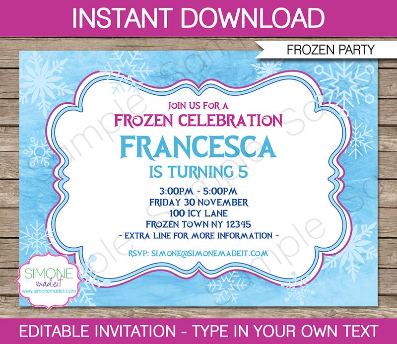 Frozen Birthday Invitations Editable Printable