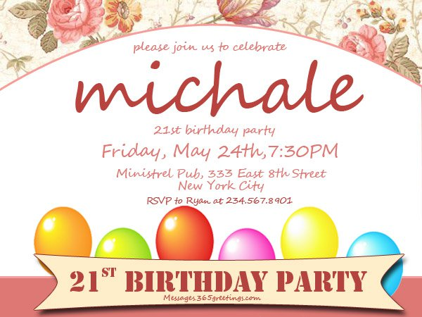 Fun 21st Birthday Invitation Wording